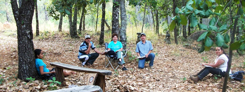 The group from Jalisco in one of their forest meetings